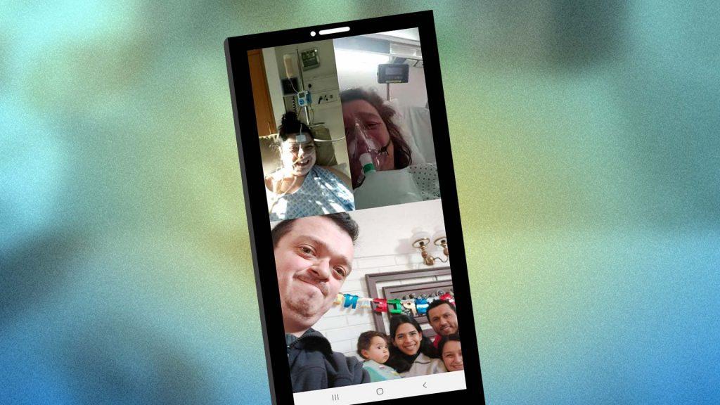 Familia comunicaándose por videollamada covid